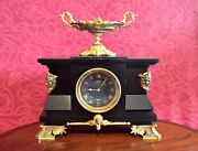 Antique French Gs Medaille D'or 1867 8-day Striking Marble, Bronze Mantel Clock