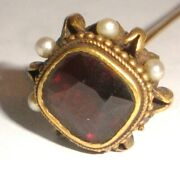 Nice Antique Victorian 14k Gold Ruby Pearls Hat Pin 6.5