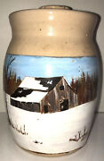 Vintage Marshall Pottery Small Butter Churn Hand Painted Winter Barn Signed