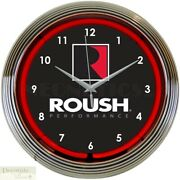 Roush Performance Ford 15 Neon Wall Clock Glass Face Chrome Plate Warranty New