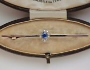 Fine Antique Edwardian 18ct Gold Sapphire And Diamond Cluster Brooch C1910 In Case