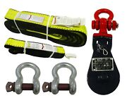 Rugged Tow Recovery Winch Kit Snatch Pulley Block Bow Shackles Tree Saver Strap