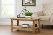 Rustic Reclaimed Oak Coffee Table W/ Shelf - Amish Made In The Usa
