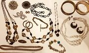Good Big Lot Of Vintage Costume Jewellery From Old Estate Inc Silver Earrings