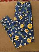 Lularoe Leggings Tall And Curvy Yellow And Blue Flowers Floral Cw