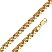 Mens Solid 14k Yellow Gold 5.3mm Hollow Square Byzantine Chain / 8.5 - 26''