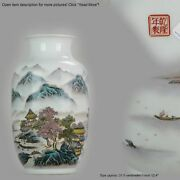 Marked Chinese Porcelain 1950-60and039s Proc Vase Landscape Qianjiang Calligr...