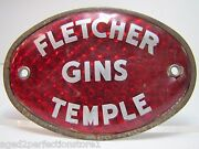 Old Fletcher Gins Temple Reflective Plate Topper Sign Texas Liquor Fuel Feed Ad