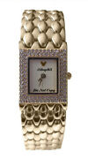 New Disney Ladies Mickey Mouse Rhinestones Gold Watch Retired Collectible