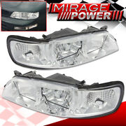 Chrome Housing Clear Lens Reflector Headlights Lamps For 1995-1999 Nissan Maxima
