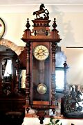 Antique Extra Rare German 8-day Striking Wall Clock With Side Mirrors 19th C
