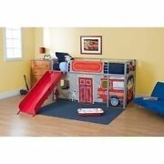 Boys Silver Metal Twin Jr Loft Bed With Red Slide Fire Dept Curtain Childrens