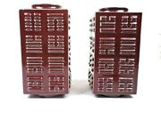 Set Of Antique Chinese Ox-blood Sang De Boeuf Glazed 8 Trigrams Cong Vases