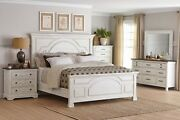 Country Farmhouse 4 Pc White Wood King Bed N/s Dresser Bedroom Furniture Set