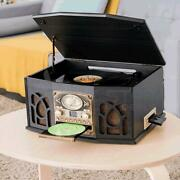 Music System Hi-fi Fm Radio Cd Stereo 5in1 Record Player Usb Speakers Turntable