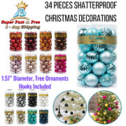 Christmas Ball Shatterproof Decorations Tree Ornaments 1.57andrdquo 34ct Holiday Decors