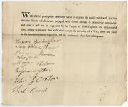 Document Signed Eight Litchfield Connecticut Men Support The War Of 1812