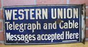 Antique Western Union Porcelain 2 Sided Flange Sign Telegraph And Cable Messages