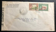 1942 Roseau Dominica Commercial Censored Cover To New York Usa