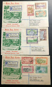 1949 Rarotonga Cook Island 3 First Day Covers To New Zealand Pictorial Stamp