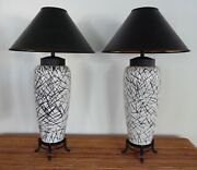 Mid Century Hollywood Regency Abstract Asian Inspired Chinoiserie Ceramic Lamps