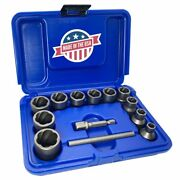 Rocketsocket Damaged Frozen Rusted Bolt Nut And Screw Extractor 13pc Set3/8 Drive
