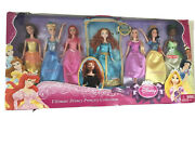 New Ultimate Disney Princess Collection 7 Pack Doll Cinderella Merida Ariel Bell
