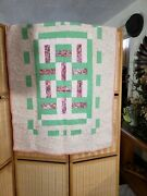 Vintage Handmade Baby Block Quilt Daisy Pattern Stitching - 38x48 Signed