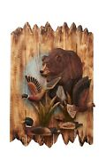 Wildlife Bear With Ducks And Loons Wood Carving Wall Art Cabin Rustic Decor