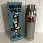 Vintage Uno Vac 1 Qt Thermos In Box With Inserts Stainless Steel Vacuum Union