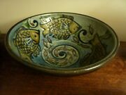 Hans Ullrich Hand Made Pottery Fish Decorated Bowl