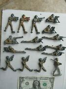 Lg. Lot Of 16 Vintage Wwii Painted Toy Lead Gi Soldiers, Machine Guns, Aircraft