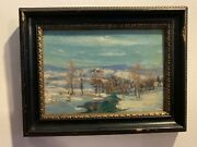 Walter Emerson Baum 1884 -1956 Winter In P.a.oil Painting - Framed 9x7