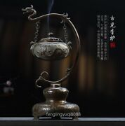 Chinese Red Copper Buddhism Dragon Beast Hanging Incense Burner Censer Incensory