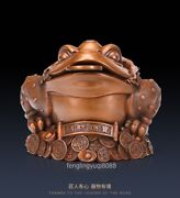 Chinese Red Copper Auspicious Wealth Feng Shui Animal Money Toad Bufonid Statue