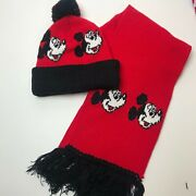Vintage Disney Mickey Mouse Knit Hat And Scarf Set Unworn