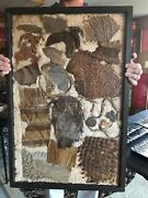 Mlc S4966 30 X 20 Antique Glass Frame 20 Old Woven Textiles Artifacts Relics