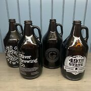 Vintage 4 Brown Glass Jugs 49th State Alaska Indiana Maryland Brewery Bottles