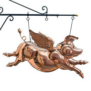 Winged Copper Pig Weather Vane Trade Sign Flying Angel Old Style