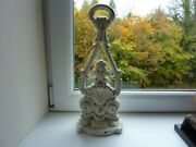 19th Century Ornate Cast Iron Door Stop Painted Old English White