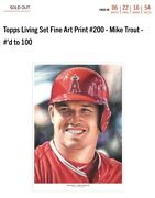 Topps Living Set Fine Art Print 200 - Mike Trout - 'd To 100 - Sold Out -