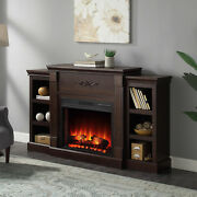 70-inch Infrared Quartz Space Heater Electric Wood Fireplace With Bookcase