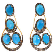 8.10ct Rose Cut Diamond Turquoise Antique Victorian Look Silver Dangler Earring