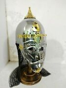 Medieval Asian Armor Helmet With Face Plate And Chain-mail Best Quality Of Items