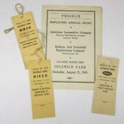Vtg 1949 American Locomotive Co And Rieco Employee Picnic Program And Tickets Lot