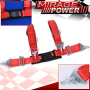 Red 4pt Single Safety Seat Belt Harness Strap 2 W/ Buckle Latch On / Off