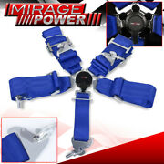 3 Wide Nylon Blue 5 Point Camlock Harness Racing Seat Belt Quick Release Strap