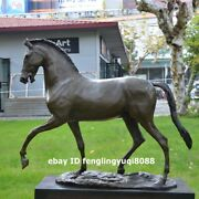 56 Cm Western Pure Bronze Marble Animal Horse Steed Home Art Decorate Sculpture