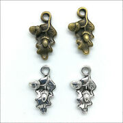 100pcs Acorn Leaves Antique Silver Charms Pendants For Jewelry Making 2212mm