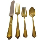 Dand039orleans Gold By Towle Sterling Silver Flatware Service Set 8 Vermeil 32 Pieces